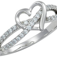 Promise Ring for Her: Sterling Silver Double Twisting CZ Simulated Diamond Heart Promise Ring, Sz 5