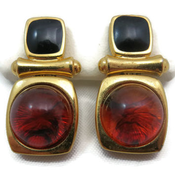 Joan Rivers Jewelry - Earrings, Faux Tortoise Lucite, Black Enamel, Gold Tone, Clip Backs, Costume Jewelry