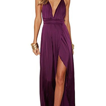 Berrygo Women's Sexy Sleeveless Backless Deep V neck Split Satin Long Party Dress Gown