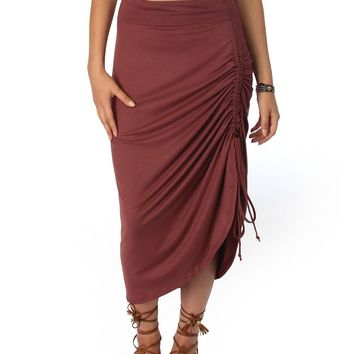 Lyss Loo Tie That Knot Fold Over Marsala Maxi Skirt