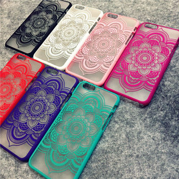 Brand New Beautiful Floral Henna Paisley Mandala Palace Flower Phone Cases Cover For iPhone 5 5G 5S 6 6G 6S 4.7 6plus 5.5