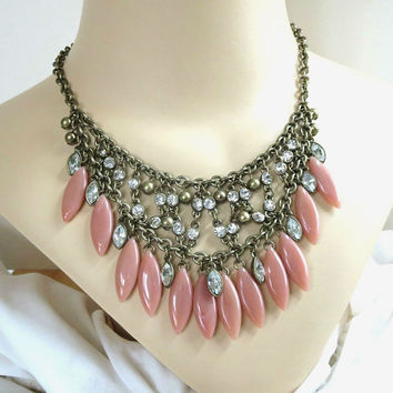 Vintage Salmon Pink Lucite Beads & Clear Rhinestones Dangle BIB Necklace