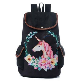 School Backpack trendy FanFine Cartoon Unicorn Printed  For Teenager Drawstring Deisgn Female Travel Rucksack Canvas backpacks Lady AT_54_4