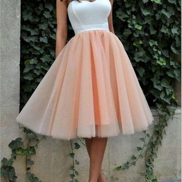 New Nacarat Patchwork Grenadine Spaghetti Strap Backless Tutu Homecoming Party Midi Dress