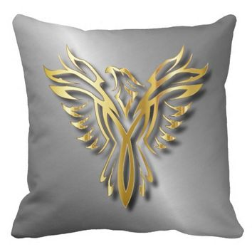 Rising Golden Phoenix Gold Flames With Shadows Pillow