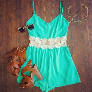Blue Lace Patchwork Strappy Romper