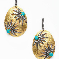 Turquoise & CZ Starburst Oval Earrings by Kanupriya up to 60% off at Gilt