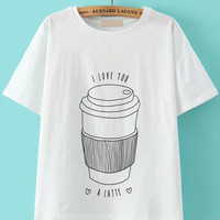 Coffee Tumbler Print White T-shirt