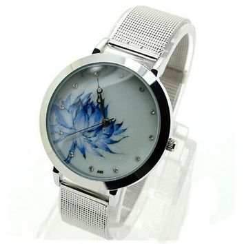 Women Fashion Blue Lotus Watches Ladies Luxury Stainless Steel Mesh Band Quartz Watch Women's Simple Diamond Wrist Watches #LH