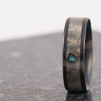 Carbon Fiber Ring with Turquoise inlay. His or Her ring, Bentwood Ring, Wedding Ring Bands, Carbon Fiber Ring, His or her, Turquoise Inlay