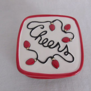 Fitz And Floyd Cheers Coaster Set of 4 Holiday Lights