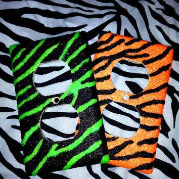 Fine Glittered Neon Orange and Green Zebra Outlet & Light Switch Set