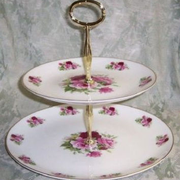 2-Tier Summertime Pink Bone China Cake Stand
