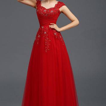 Long Party Dress with Applique I038