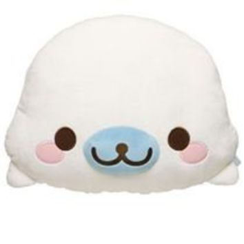 white Mamegoma seal plush toy pillow by San-X - Plush Toys - Stationery