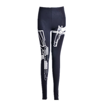 S-XL 2015 New Summer Women Sport Leggings Comfortable Casual Loose Gun Print Polyester Fashion Brand Sport Leggings Plus Size