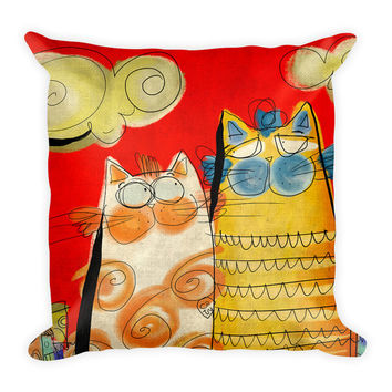 PILLOW 18x18 with Insert - Two Happy Cats - Nursery Room - Illustration lovers - Baby Room - Studio Decor - Gift for Him