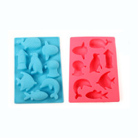 Cute Fishes Silicone Cake Cooking Molds Kitchen Baking Decorating Tools 8 pcs Whale Dolphin Penguin Shape Chocolate Ice Lattice
