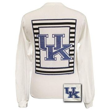 UK Kentucky Wildcats Preppy Glitter Logo Girlie Long Sleeves T Shirt