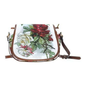 Women Shoulder Bag Vintage Roses Red White Floral Saddle Bag Large