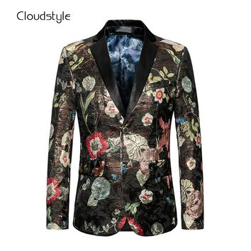 Plus Size 6XL Cloudstyle Fashion Jacket Mens Colorful Multi Flower Printing Autumn Winter Coat Casual Slim Fit Blazers For Party