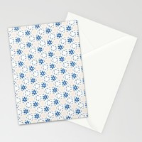Acrylic Blue Floral Triangles Stationery Cards by Doucette Designs