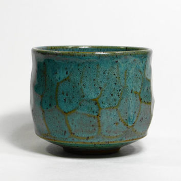Sea Blue Green stoneware tea bowl, chawan, yunomi, teacup, tea cup, small bowl, decorative bowl, father's day gift