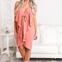 Sealed with a Kiss Ruffled V-Neck Dress (Dusty Rose)