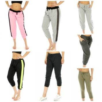 Cotton Blend Capri Pants w Drawstring in Sizes S-3X in 7 Colors