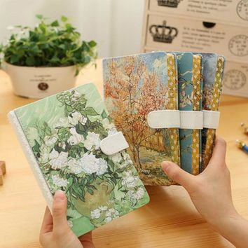 Creative flower language life notebook Magnetic buttons vintage art Korean thick Diary Notepad agenda planner filofax note book