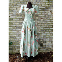 1940s dress, 40s floral dress, maxi dress, long dress, polished cotton, green dress, puffed sleeves, drop waist