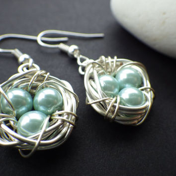 Silver Bird Nest- Pastel Green Eggs- Spring Egg Nest- Forest- Woodland- Nature- Easter- Mother's Day- Gift for Mom- Unique Gift Idea for Her