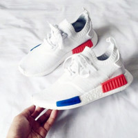 "Women ""Adidas"" NMD Boost Casual Sports Shoes white (blue orange soles)"