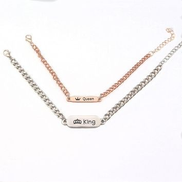 "Cool Romantic Couple Bracelet Lover Pair Engraved Letter ""Her Queen&His King ""bangles For Valentine's Day giftAT_93_12"