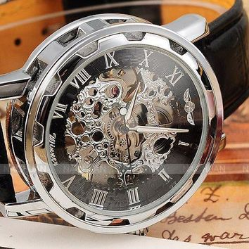 Hot Seller: Men's Hollow Skeleton Mechanical Leather Strap Wrist Watch