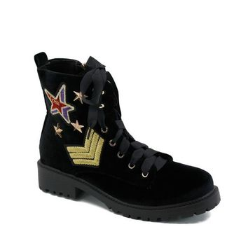 Womens Lace Up Ankle Boots Faux Suede Velvet Zipper Star Badge Combat Motorcycle Blocked heel