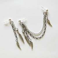 Double Chain Cartilage Earrings Feather and Wing Charms, Black Friday Etsy Cyber Monday Etsy