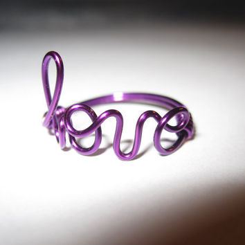 Purple Love Ring Wire Wrapped by aLilJazzJewelry on Etsy
