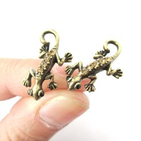Detailed Gecko Lizard Shaped Stud Earrings in Brass with Rhinestones | Animal Jewelry