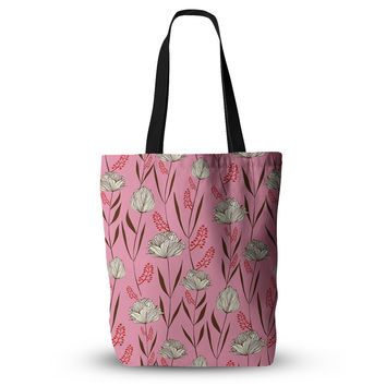 "Amy Reber ""White Floral"" Pink Pattern Everything Tote Bag"