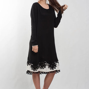 Oversize black Dress Little black Dress Mini formal Crochet Dress oversize Irish Lace Dress mini black Dress floral long sleeves Dress