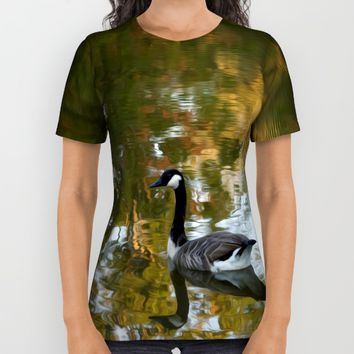 Autumn Pond All Over Print Shirt by Stephen Linhart