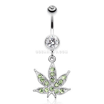 Marijuana Leaf Sparkle Belly Ring (Clear)