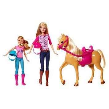 Barbie Sisters Moments Riding Lesson Dolls And Horse