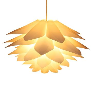 DIY Pendant Light Shades Kit with 33 Inch Cord Set, Lampwin IQ Jigsaw Puzzle Ceiling Suspension Hanging Lamp Shade Lotus Flower for Chandelier Living Room Bedroom Study Dining Room Decor