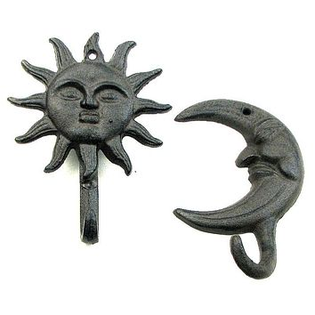 Sun and Moon Hook Set of 2