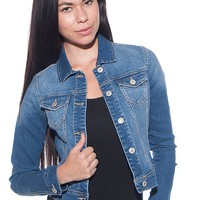 Wax Jeans Cropped Button Up Denim Jacket - M Blue
