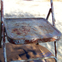 Vintage Childs Metal Folding Chair..Mid Century..Samsonite...Chippy...Rusty..Playroom..Office..School..Seating...Photo Prop...Time Out Chair