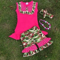 In Stock- pink and camo short set