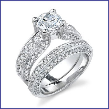 Gregorio 18K White Gold Diamond Engagement Ring Set R-343-1